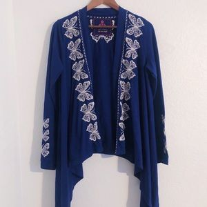 Johnny Was Blue Butterfly Embroidered Cardigan
